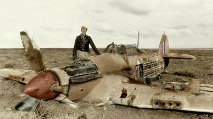 color Hans-Joachim Marseille with Hawker Hurricane MkIIB of 274. Squadron RAF, North Afrika - 30.3.42 (coloured)