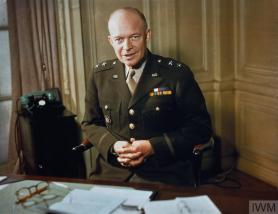 MAJOR GENERAL DWIGHT EISENHOWER, 1942 (TR 207) The Commander of American Forces in the European Theatre, Major General Dwight Eisenhower, at his desk. Copyright: © IWM. Original Source: http://www.iwm.org.uk/collections/item/object/205123830