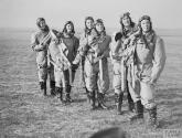 WOMEN ON THE HOME FRONT 1939 - 1945 (C 381) Air Transport Auxiliary (ATA): A group of women pilots of the ATA service photographed in their flying kit at Hatfield. Copyright: © IWM. Original Source: http://www.iwm.org.uk/collections/item/object/205193242
