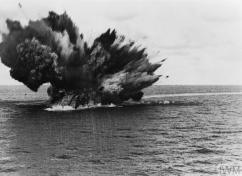THE BATTLE OF THE ATLANTIC, 1939-1945 ((MOI) FLM 1984) HMS BARHAM explodes as her 15 inch magazine ignites, 25 November 1941. Copyright: © IWM. Original Source: http://www.iwm.org.uk/collections/item/object/205022049