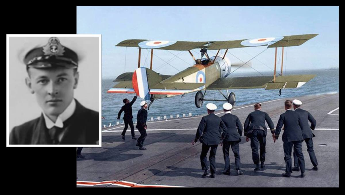 The first man to land on an aircraft carrier at sea was a South African