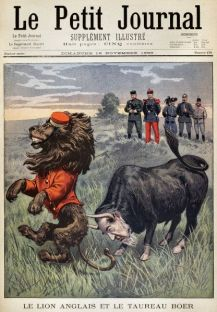 BOER WAR CARTOON, 1899. 'The English Lion and the Boer Bull.' The Afrikaner bull, with the head of Paul Krueger, attacks the British lion. French cartoon from a November 1899 issue of 'Le Petit Journal.'