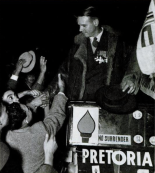Sailor Malan greets supporters at a Torch Commando Rally in Cape Town